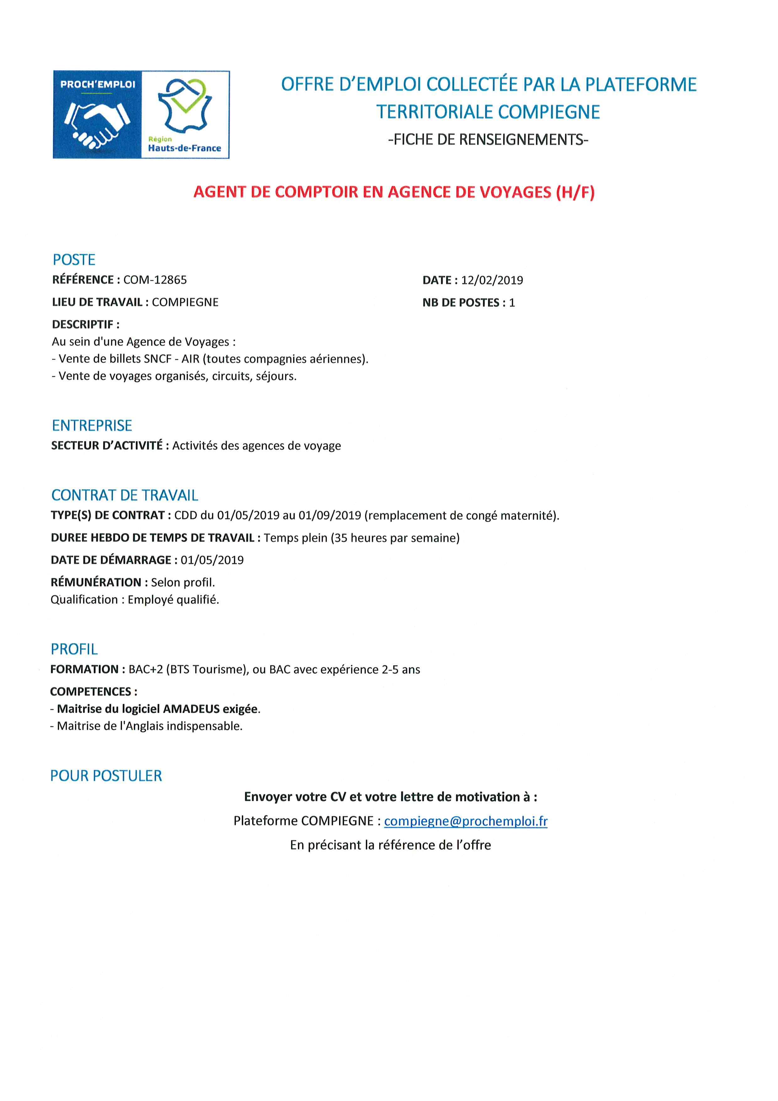 349a7f1aa5b Offres d emplois - Ville de Venette
